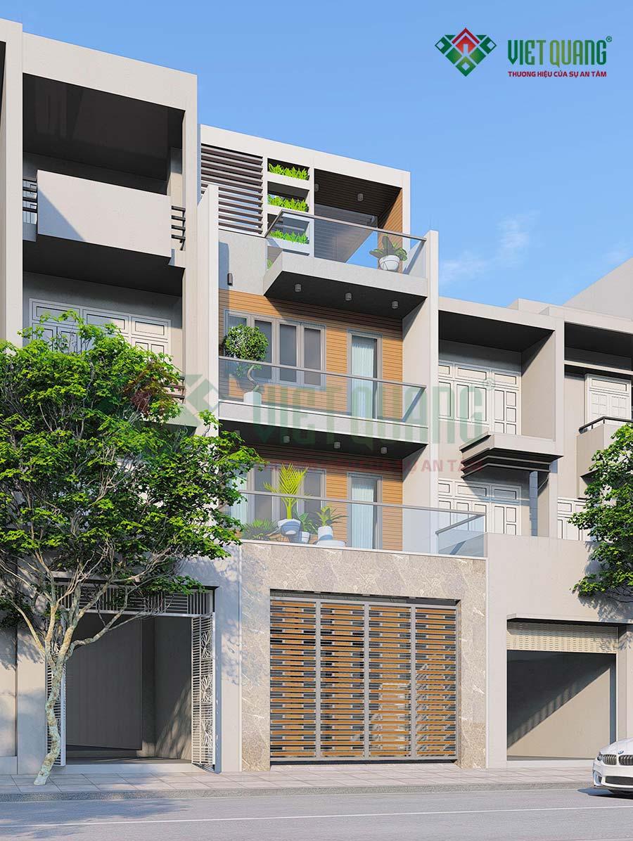 Phối cảnh mặt tiền nhà phố 4 tầng đẹp hiện đại tại quận 12 của gia đình anh Trúc