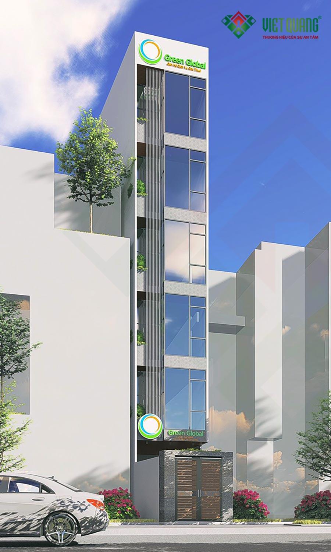 Phối cảnh thiết kế mặt tiền công trình nhà phố 6 tầng tại Phú Nhuận