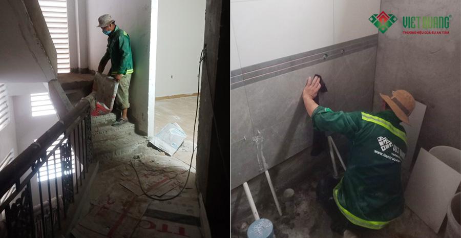 Thi công ốp gạch nhà vệ sinh
