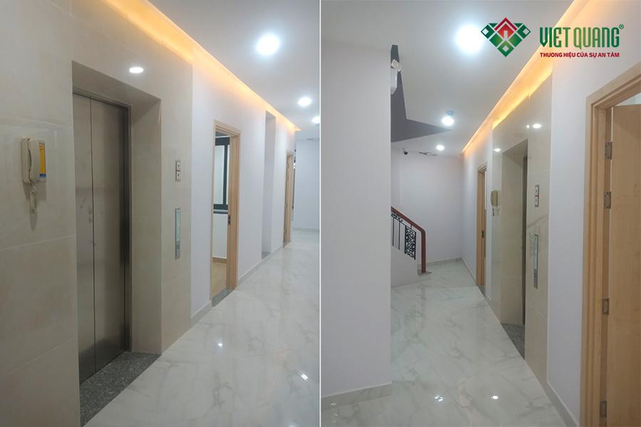 Hình ảnh hoàn thiện của tòa nhà như: hành lang, thang máy rất đẹp và sạch sẽ