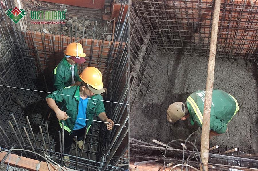 Thi công phần thô phần đáy hố thang máy cho ngôi nhà 6 tầng tại quận Phú Nhuận