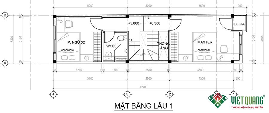 Mặt bằng lầu 1 nhà phố 4 tầng 1 lửng 3.4x15.5m