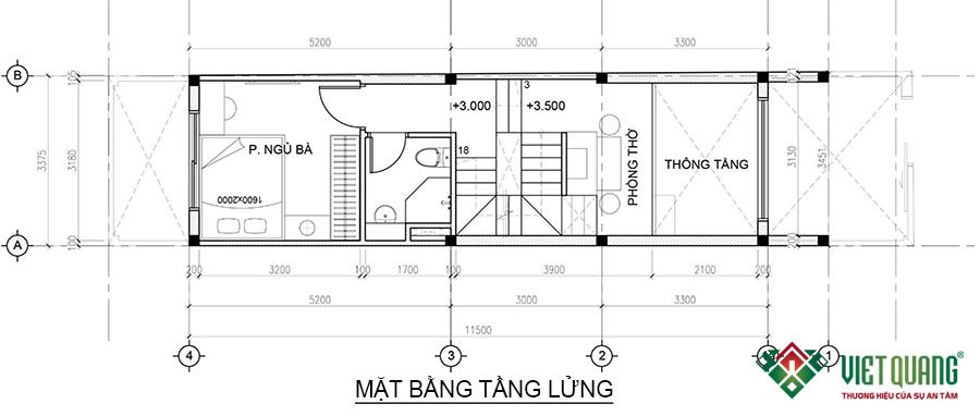 Mặt bằng tầng lửng nhà phố 4 tầng 1 lửng 3.4x15.5m