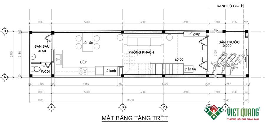 Mặt bằng tầng trệt nhà phố 4 tầng 1 lửng 3.4x15.5m
