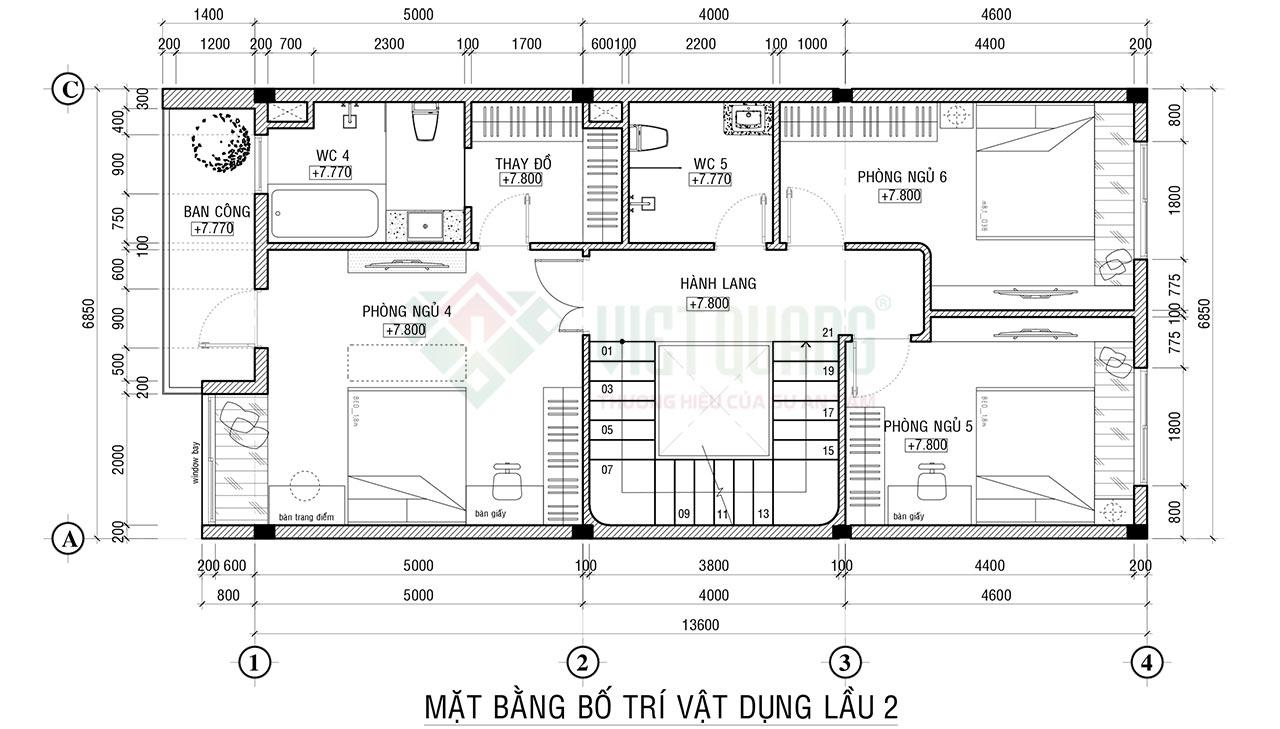 Mặt bằng lầu 2 của ngôi nhà phố 4 tầng diện tích 6.85x13.6m