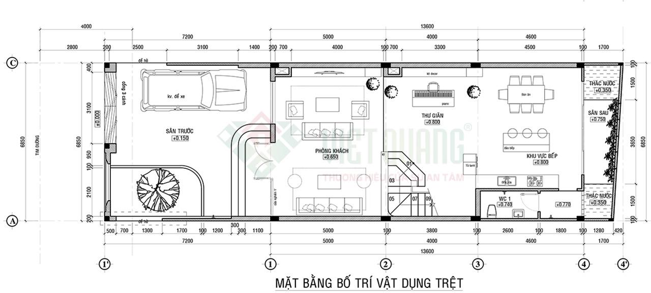 Mặt bằng tầng trệt nhà phố 4 tầng diện tích 6.85x13.6m của gia đình chị Mai quận Tân Bình