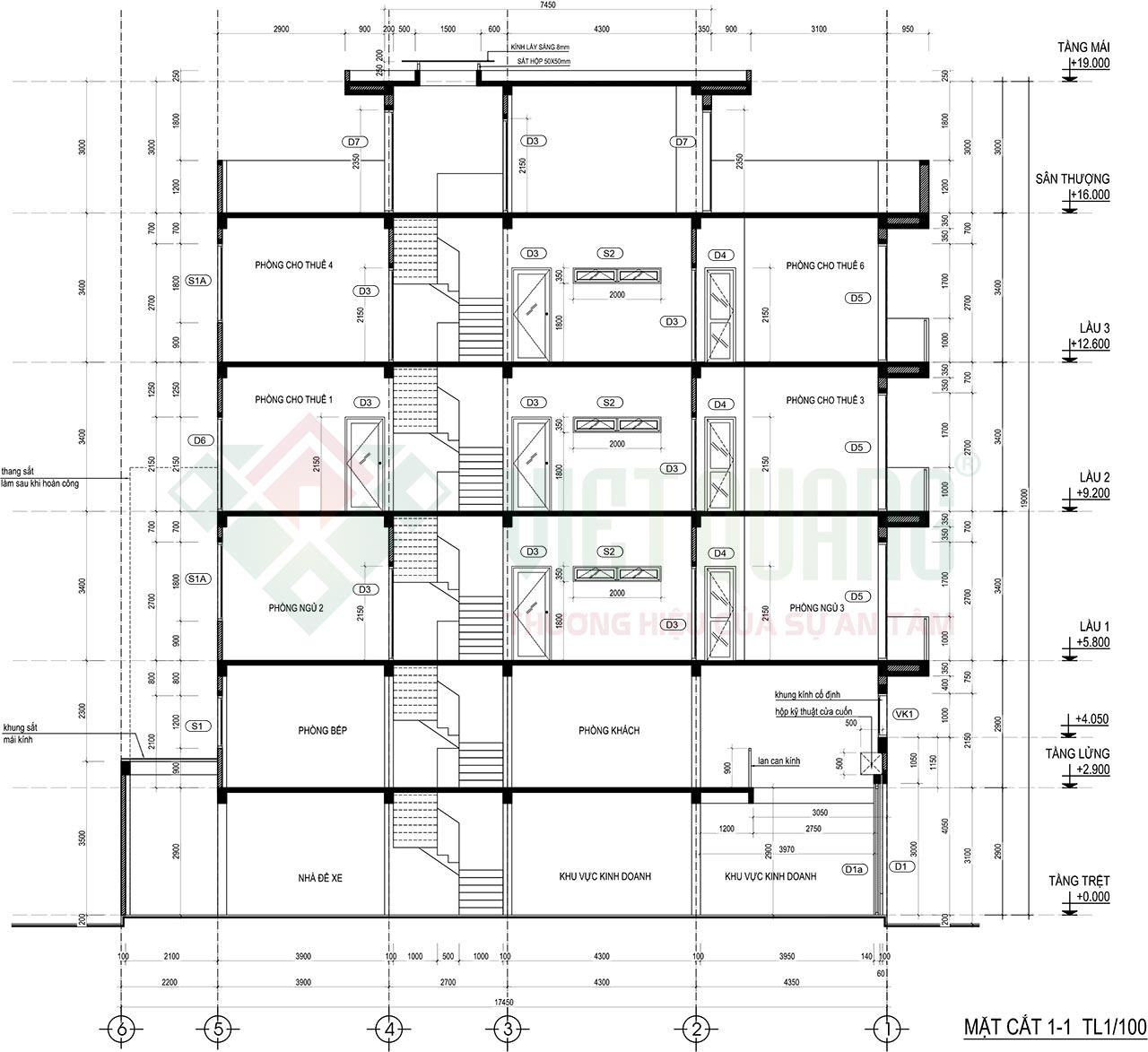 Mặt cắt dọc ngôi nhà phố 4 tầng 1 lửng diện tích 4x17.5m