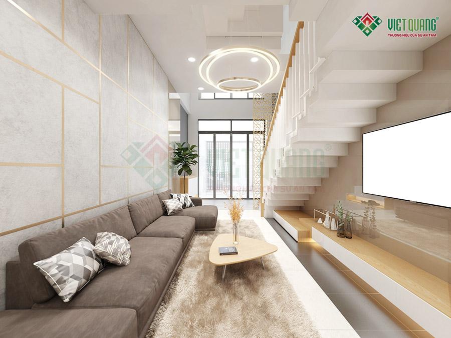 Mẫu thiết kế nội thất phòng khách view từ trong nhìn ra