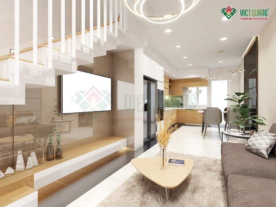 Nội thất phòng khách nhà phố 4 tầng 1 lửng diện tích 3.4x15.5m
