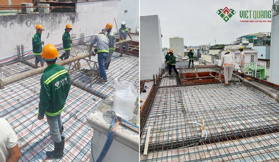 Công tác chuẩn bị đổ bê tông sàn nhà lầu 2