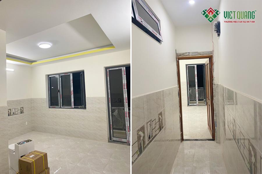 Hình ảnh hoàn thiện một phòng ngủ (trái), hình ảnh hành lang lầu 2 (phải)