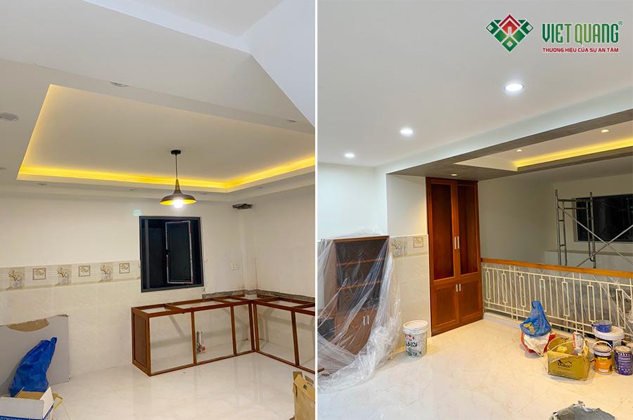 Hình ảnh hoàn thiện khu vực bếp và phòng khách tầng lửng