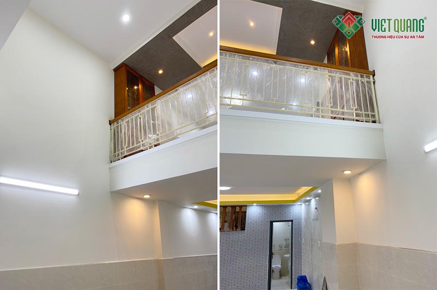 Hình ảnh nội thất hoàn thiện khu vực tầng lửng (nhìn từ dưới phòng khách lên tầng lửng)