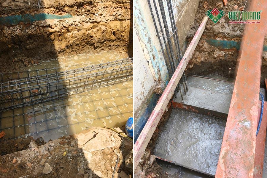 Thi công phần móng băng công trình nhà phố 4 tầng của anh Hà quận Bình Thạnh