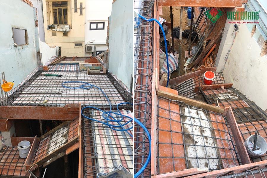 Hình ảnh thép sàn - thép cầu thang công trình nhà phố 4 tầng anh Hà quận Bình Thạnh