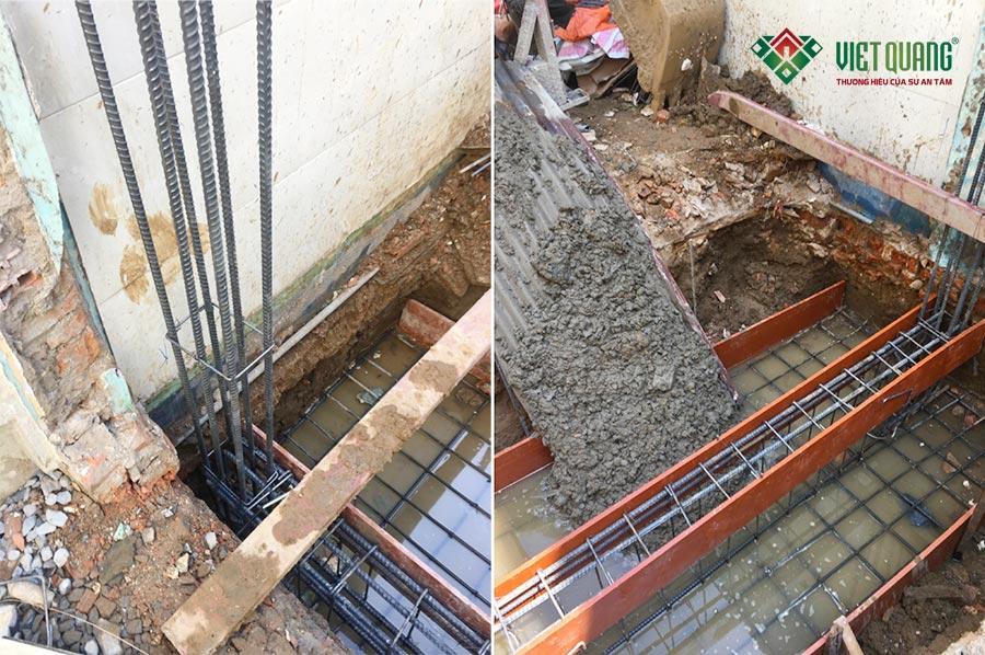 Công nhân Việt Quang thi công phần móng băng và đổ bê tông móng