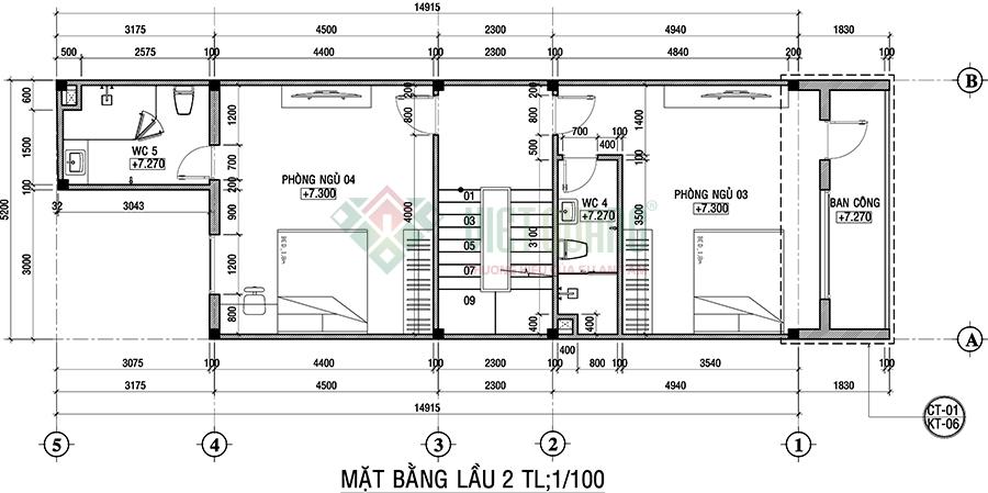 Mặt bằng thiết kế công năng sử dụng lầu 2 nhà phố 4 tầng đẹp diện tích 5.2x18m