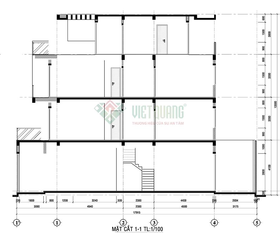 Mặt cắt dọc nhà phố 4 tầng 5.2x18m thiết kế theo phong cách hiện đại